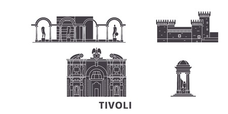 Italy, Tivoli flat travel skyline set. Italy, Tivoli black city vector panorama, illustration, travel sights, landmarks, streets.