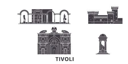 L'Italia, set di skyline da viaggio piatto di Tivoli. L'Italia, Tivoli città nera panorama vettoriale, illustrazione, siti di viaggi, punti di riferimento, strade.