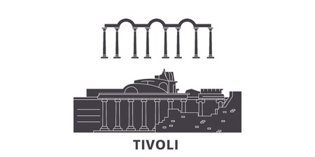 L'Italie, Tivoli, Villa Adriana voyage plat skyline set. Italie, Tivoli, Villa Adriana panorama vectoriel de la ville noire, illustration, sites touristiques, monuments, rues.