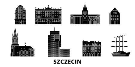Poland, Szczecin flat travel skyline set. Poland, Szczecin black city vector panorama, illustration, travel sights, landmarks, streets. Illustration