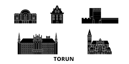 Poland, Torun flat travel skyline set. Poland, Torun black city vector panorama, illustration, travel sights, landmarks, streets.