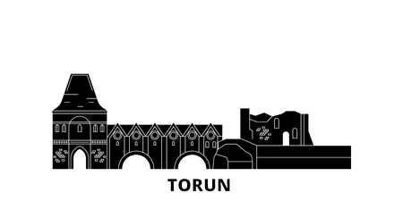 Poland, Torun City flat travel skyline set. Poland, Torun City black city vector panorama, illustration, travel sights, landmarks, streets.
