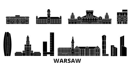 Poland, Warsaw flat travel skyline set. Poland, Warsaw black city vector panorama, illustration, travel sights, landmarks, streets.