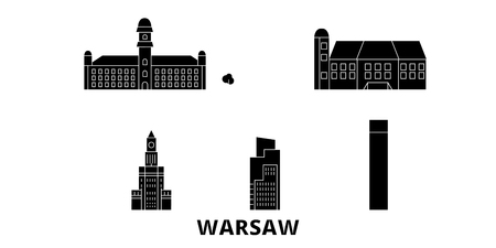Poland, Warsaw City flat travel skyline set. Poland, Warsaw City black city vector panorama, illustration, travel sights, landmarks, streets. Ilustracja
