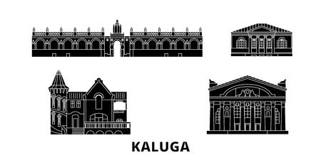 Russia, Kaluga flat travel skyline set. Russia, Kaluga black city vector panorama, illustration, travel sights, landmarks, streets.
