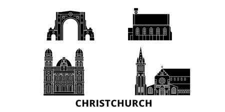 New Zealand, Christchurch flat travel skyline set. New Zealand, Christchurch black city vector panorama, illustration, travel sights, landmarks, streets.