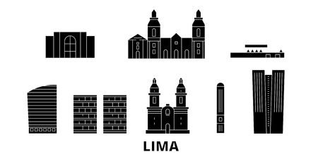 Peru, Lima flat travel skyline set. Peru, Lima black city vector panorama, illustration, travel sights, landmarks, streets.