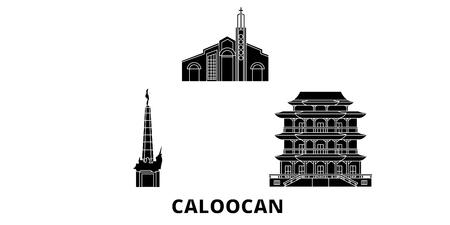 Philippines, Caloocan flat travel skyline set. Philippines, Caloocan black city vector panorama, illustration, travel sights, landmarks, streets.