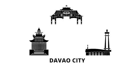 Philippines, Davao City flat travel skyline set. Philippines, Davao City black city vector panorama, illustration, travel sights, landmarks, streets.