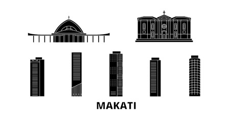 Philippines, Makati flat travel skyline set. Philippines, Makati black city vector panorama, illustration, travel sights, landmarks, streets.