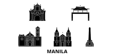 Filippine, set di skyline di viaggio piatto di Manila. Filippine, Manila black city panorama vettoriale, illustrazione, siti di viaggi, punti di riferimento, strade.