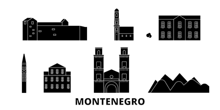 Montenegro flat travel skyline set. Montenegro black city vector panorama, illustration, travel sights, landmarks, streets.