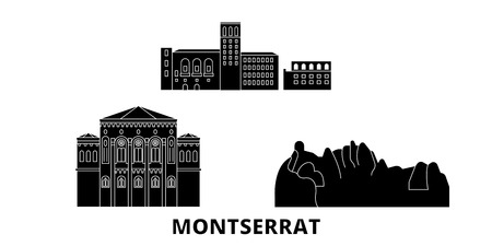 Montserrat flat travel skyline set. Montserrat black city vector panorama, illustration, travel sights, landmarks, streets.