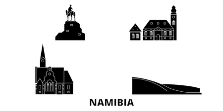 Namibia flat travel skyline set. Namibia black city vector panorama, illustration, travel sights, landmarks, streets.