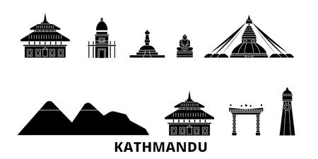 Népal, Katmandou plat voyage skyline set. Népal, panorama vectoriel de la ville noire de Katmandou, illustration, sites touristiques, monuments, rues.