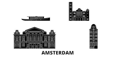 Netherlands, Amsterdam flat travel skyline set. Netherlands, Amsterdam black city vector panorama, illustration, travel sights, landmarks, streets. 向量圖像