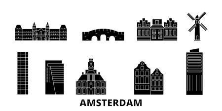 Netherlands, Amsterdam City flat travel skyline set. Netherlands, Amsterdam City black city vector panorama, illustration, travel sights, landmarks, streets. 向量圖像