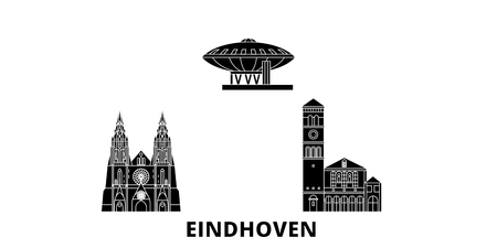 Netherlands, Eindhoven flat travel skyline set. Netherlands, Eindhoven black city vector panorama, illustration, travel sights, landmarks, streets.
