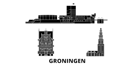 Netherlands, Groningen flat travel skyline set. Netherlands, Groningen black city vector panorama, illustration, travel sights, landmarks, streets.