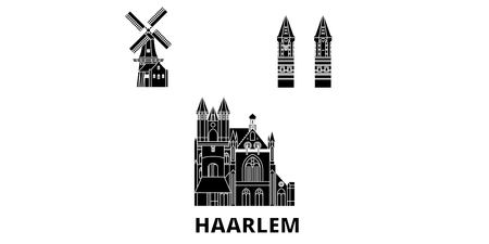 Netherlands, Haarlem flat travel skyline set. Netherlands, Haarlem black city vector panorama, illustration, travel sights, landmarks, streets. 版權商用圖片 - 120731490
