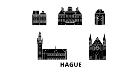 Netherlands, Hague flat travel skyline set. Netherlands, Hague black city vector panorama, illustration, travel sights, landmarks, streets.