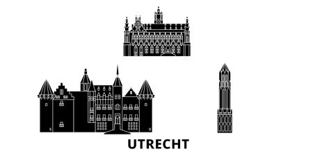 Netherlands, Utrecht flat travel skyline set. Netherlands, Utrecht black city vector panorama, illustration, travel sights, landmarks, streets.