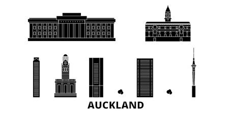 New Zealand, Auckland flat travel skyline set. New Zealand, Auckland black city vector panorama, illustration, travel sights, landmarks, streets.