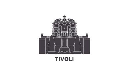 Italien, Tivoli, Villa D'este Flat Travel Skyline Set. Italien, Tivoli, Villa D'este schwarzes Stadtvektorpanorama, Illustration, Reiseanblicke, Sehenswürdigkeiten, Straßen. Vektorgrafik