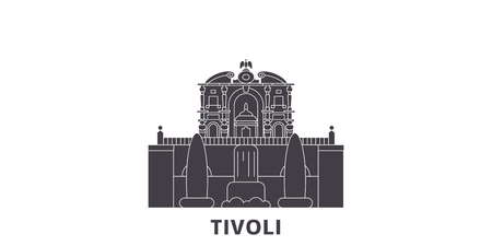 Italy, Tivoli, Villa Deste flat travel skyline set. Italy, Tivoli, Villa Deste black city vector panorama, illustration, travel sights, landmarks, streets.