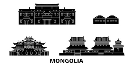 Mongolia flat travel skyline set. Mongolia black city vector panorama, illustration, travel sights, landmarks, streets.