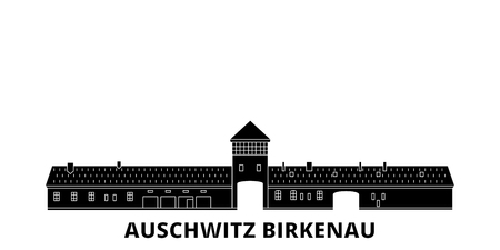 Poland, Auschwitz Birkenau flat travel skyline set. Poland, Auschwitz Birkenau black city vector panorama, illustration, travel sights, landmarks, streets. Иллюстрация