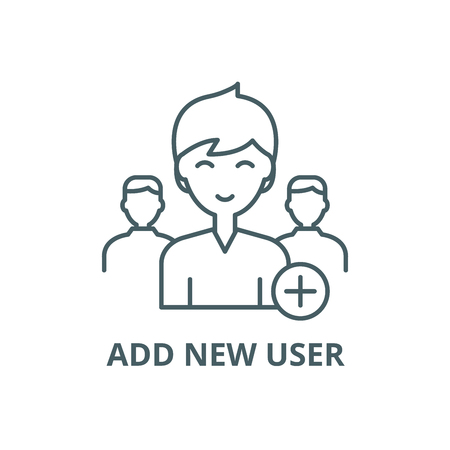 Add new user line icon, vector. Add new user outline sign, concept symbol, illustration  イラスト・ベクター素材