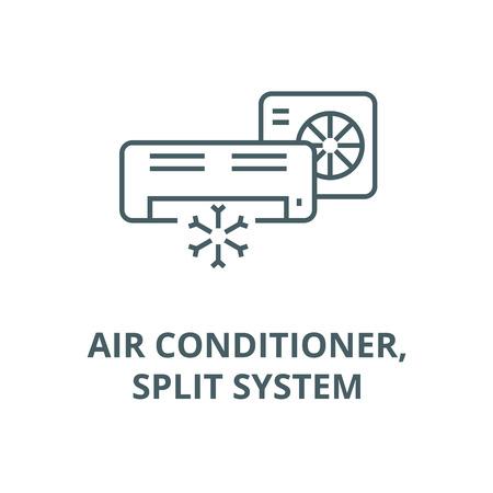 Acondicionador de aire, icono de línea de sistema dividido, vector. Acondicionador de aire, signo de esquema de sistema dividido, símbolo conceptual, ilustración
