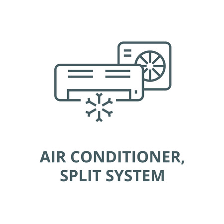 Air conditioner,split system line icon, vector. Air conditioner,split system outline sign, concept symbol, illustration  イラスト・ベクター素材
