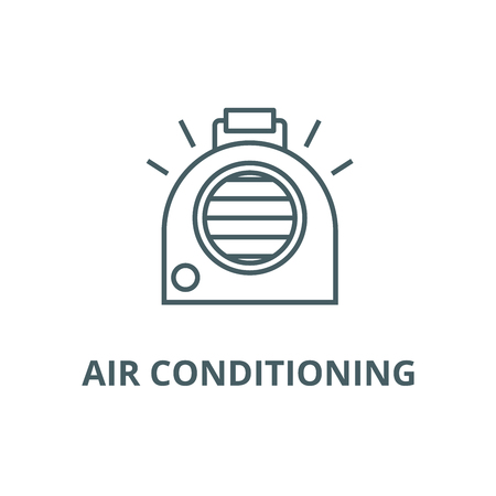 Air conditioning, portable heater line icon, vector. Air conditioning, portable heater outline sign, concept symbol, illustration Vettoriali