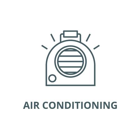 Airconditioning, draagbare kachel lijn pictogram, vector. Airconditioning, draagbare kachel omtrek teken, concept symbool, illustratie