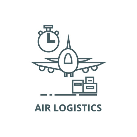 Air logistics,fast delivery line icon, vector. Air logistics,fast delivery outline sign, concept symbol, illustration