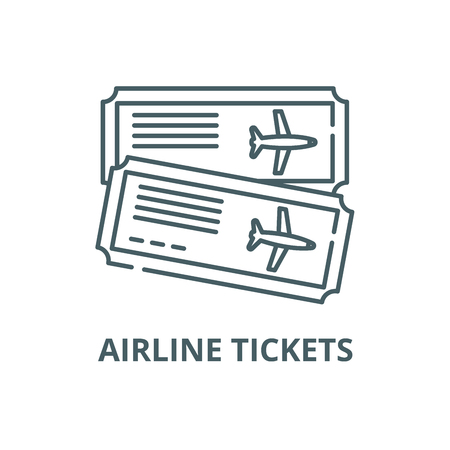 Airline tickets line icon, vector. Airline tickets outline sign, concept symbol, illustration