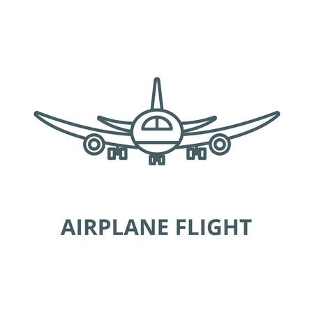 Airplane flight line icon, vector. Airplane flight outline sign, concept symbol, illustration Ilustração
