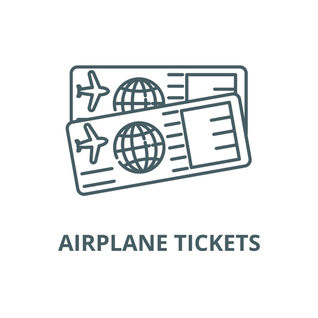 Airplane tickets line icon, vector. Airplane tickets outline sign, concept symbol, illustration
