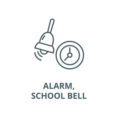 Alarm,school bell line icon, vector. Alarm,school bell outline sign, concept symbol, illustration