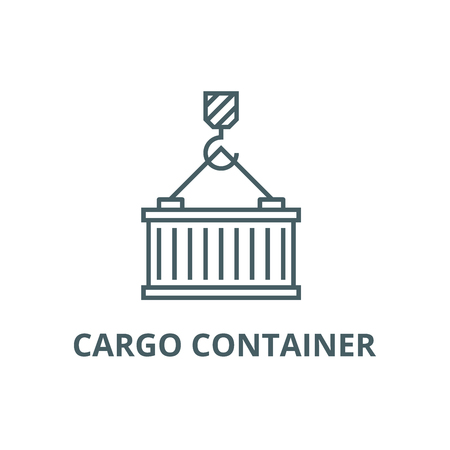 cargo crane with container line icon, vector.  cargo crane with container outline sign, concept symbol, illustration