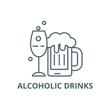 Alcoholic drinks line icon, vector. Alcoholic drinks outline sign, concept symbol, illustration