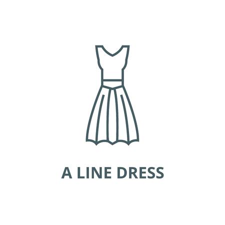 A line dress line icon, vector. A line dress outline sign, concept symbol, illustration Illustration