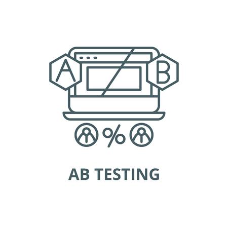 Ab testing line icon, vector. Ab testing outline sign, concept symbol, illustration Illustration