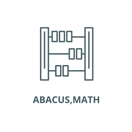 Abacus,math line icon, vector. Abacus,math outline sign, concept symbol, illustration