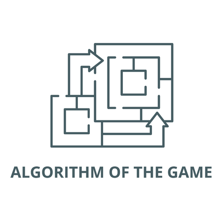 Algorithm of the game line icon, vector. Algorithm of the game outline sign, concept symbol, illustration