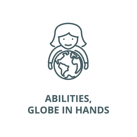 Abilities,woman with globe in hands line icon, vector. Abilities,woman with globe in hands outline sign, concept symbol, illustration