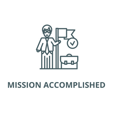 Accomplished business mission  line icon, vector. Accomplished business mission  outline sign, concept symbol, illustration