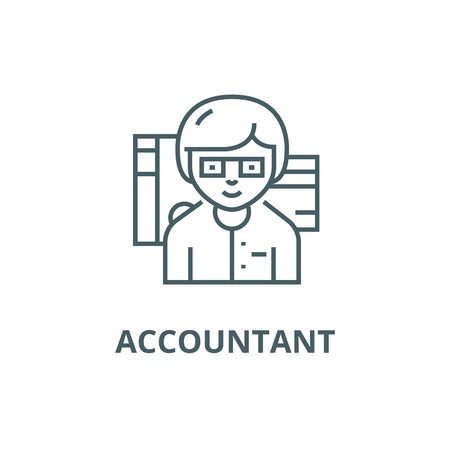 Accountant line icon, vector. Accountant outline sign, concept symbol, illustration